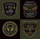 Toppe miltary del distintivo dell'unità speciale illustrazione di stock