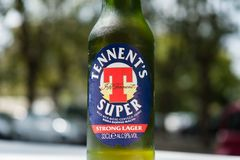 Toppen ölflaska för Tennent ` s Fotografering för Bildbyråer