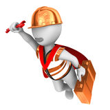 toppen arbetare 3d med skiftnyckeln Royaltyfri Fotografi