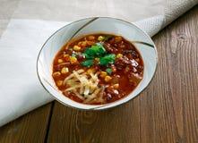 Toppen Chorizo Chili Bowls arkivfoto
