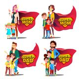 Toppen farsa, mammavektor Moder och fader Like Super Hero med barn Sköldemblem Isolerad plan tecknad film Illudtration royaltyfri illustrationer