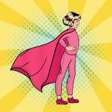 Toppen flicka Toppen hjälte för flicka Supergirl anseende på taket royaltyfri illustrationer