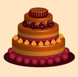 Toppen glupsk och härlig kaka Royaltyfri Illustrationer