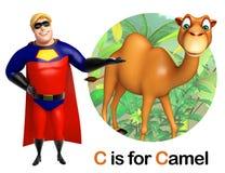 Toppen hjälte som pekar kamlet stock illustrationer