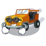 Toppen kall jeepbil i formmaskot vektor illustrationer