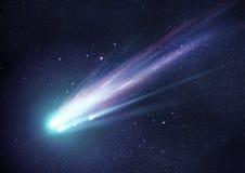 Toppen ljus komet på natten Arkivbilder