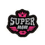 Toppen mamma Tryck eller lapp för t-skjorta med bokstäver Lycklig mal royaltyfri illustrationer