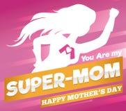 Toppen mammaaffisch för mors dagberöm, vektorillustration royaltyfri illustrationer