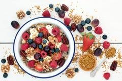 Toppen mat för sund frukost arkivbilder