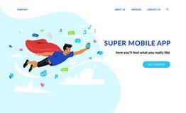 Toppen mobil app och samkvämnätverk Arkivfoton