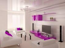 Toppen modern vardagsrum med funktionellt möblemang i högteknologisk stil royaltyfri illustrationer