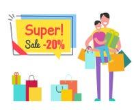 Toppen påse för shopping för son för man för etikett för Sale Promoklistermärke Royaltyfri Fotografi