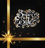 Toppen Sale inskrift med guld- krökta beståndsdelar royaltyfri illustrationer