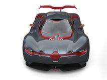 Toppen sportbil - kritisera grå färger med metalliska körsbärsröda röda sidopaneler och fostra vingen - främre sikt royaltyfri illustrationer
