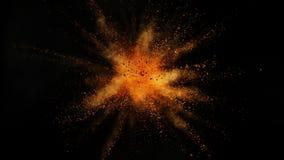 Toppen ultrarapid av den färgade pulverexplosionen som isoleras på svart bakgrund stock video