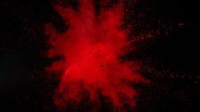 Toppen ultrarapid av den färgade pulverexplosionen som isoleras på svart bakgrund lager videofilmer