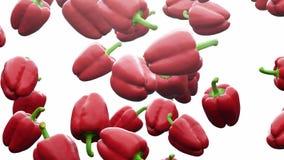 Toppen ultrarapid: fallande röd peppar mot vit bakgrund r 3d stock video