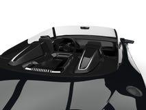 Toppet bil- över huvudet inreskott för skinande kolsvart modern cabriolet royaltyfri illustrationer