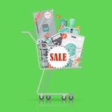Toppet försäljningsbaner Hushållanordningar i spårvagn royaltyfri illustrationer