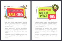Toppet pris Sale 20 för jul av annonsetiketter Royaltyfri Foto