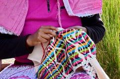 Toppig bergskedja Chincua, Michoacan, Mexico, Januari 14: Den infödda kvinnan syr kläder Arkivbild