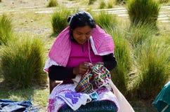 Toppig bergskedja Chincua, Michoacan, Mexico, Januari 14: Den infödda kvinnan syr kläder Arkivfoto