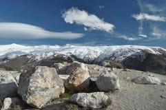 Toppig bergskedja Nevada berg i sydliga Spanien Fotografering för Bildbyråer