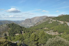 Toppig bergskedja Nevada berg i sydliga Spanien, Arkivbilder