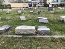 Toppled Headstones at Grace Cemetery, Providence Rhode Island stock images