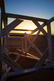 Toppled Lifeguard Chair Greets a Winter Sunrise Stock Images