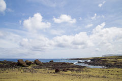 Toppled over Moais Akahanga on Easter Island Stock Photography