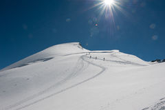 Toppmöte Allalinhorn Royaltyfri Fotografi