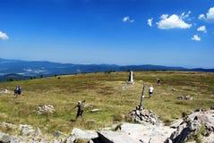Toppmöte av den Kralicky Sneznik kullen Fotografering för Bildbyråer