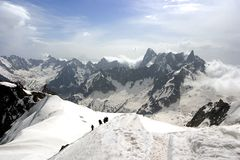 toppmöte för blancEuropa fotvandra mont Royaltyfri Fotografi
