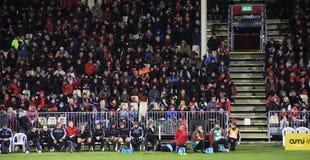 Toppna åskådare för rugbylek Royaltyfria Bilder