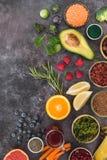 Toppna Foods gör ren att äta och att banta begrepp arkivfoton