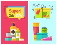 Toppna Sale -20 affischer ställde in vektorillustrationen vektor illustrationer