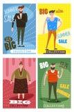 Toppna Sale kläder och tillbehörbaner Stor försäljning, rensning Kort för att sälja kläder, olika format, tecken stock illustrationer
