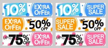 Toppna Sale och extra erbjudande, fastställd mall för rengöringsdukbanerdesign, upp till 10% 50% 75% av, vektorillustration stock illustrationer