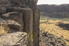 Tops of Basalt Columns. Formed from lava cooling after eruption royalty free stock photography