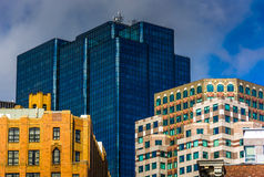 Tops of buildings in Boston, Massachusetts. Stock Photos
