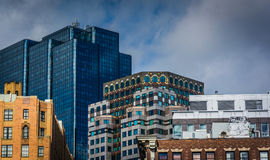 Tops of buildings in Boston, Massachusetts. Stock Image