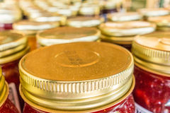 Tops closeup of mason jars. Lid tops closeup of mason jars Stock Photos