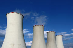 Tops of cooling towers of atomic power plant Royalty Free Stock Photos
