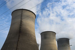 Tops of cooling towers Stock Photos