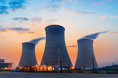 Tops of cooling towers Royalty Free Stock Images