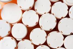 Tops de la botella de la prescripción Fotografía de archivo libre de regalías