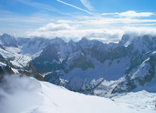 The tops of the Mont Blanc mountain range. Stock Images