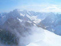 The tops of the Mont Blanc mountain range. Royalty Free Stock Photo
