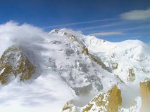 The tops of the Mont Blanc mountain range. Stock Photo